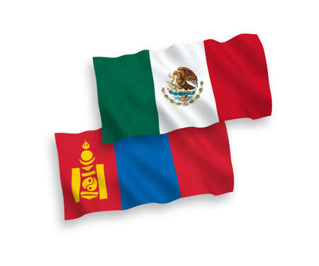 National vector fabric wave flags of Mexico and Mongolia isolated on white background. 1 to 2 proportion.