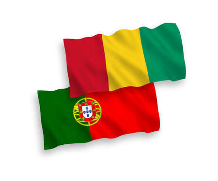 National vector fabric wave flags of Portugal and Guinea isolated on white background. 1 to 2 proportion.