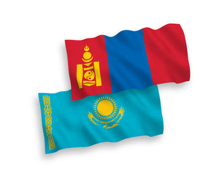 National vector fabric wave flags of Kazakhstan and Mongolia isolated on white background. 1 to 2 proportion.