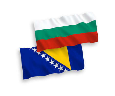 National vector fabric wave flags of Bulgaria and Bosnia and Herzegovina isolated on white background. 1 to 2 proportion. 向量圖像