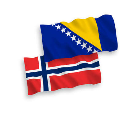 National vector fabric wave flags of Norway and Bosnia and Herzegovina isolated on white background. 1 to 2 proportion.