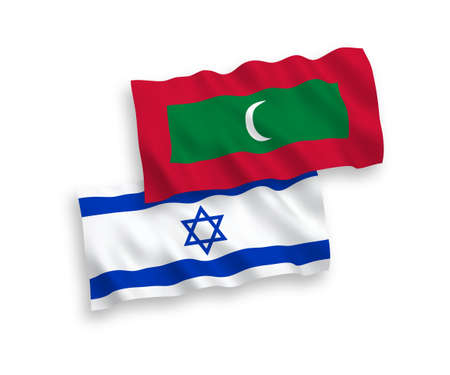 National vector fabric wave flags of Maldives and Israel isolated on white background. 1 to 2 proportion.