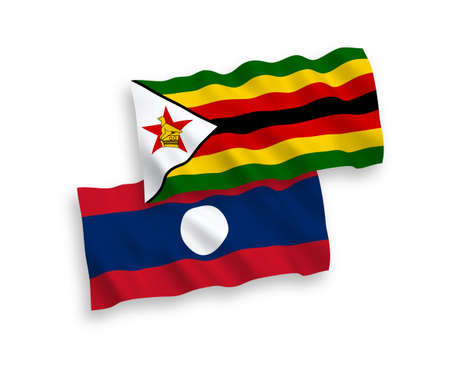 National vector fabric wave flags of Zimbabwe and Laos isolated on white background. 1 to 2 proportion.