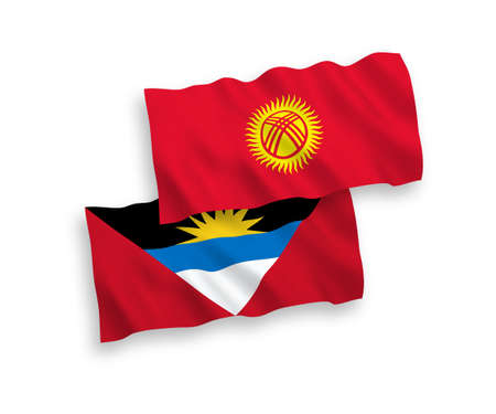 National vector fabric wave flags of Antigua and Barbuda and Kyrgyzstan isolated on white background. 1 to 2 proportion.