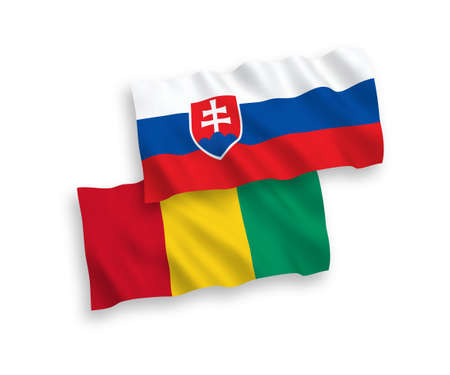 National vector fabric wave flags of Slovakia and Guinea isolated on white background. 1 to 2 proportion.