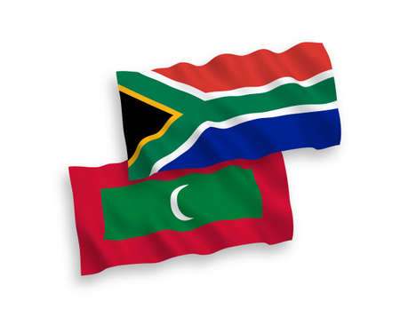 National vector fabric wave flags of Maldives and Republic of South Africa isolated on white background. 1 to 2 proportion.