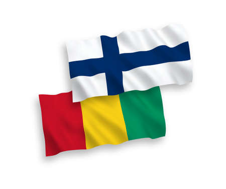 National vector fabric wave flags of Finland and Guinea isolated on white background. 1 to 2 proportion.