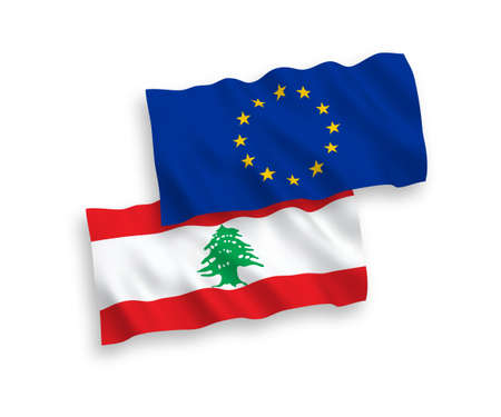 National vector fabric wave flags of European Union and Lebanon isolated on white background. 1 to 2 proportion.