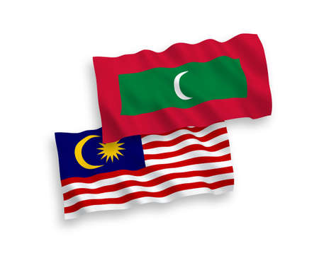 National vector fabric wave flags of Maldives and Malaysia isolated on white background. 1 to 2 proportion.