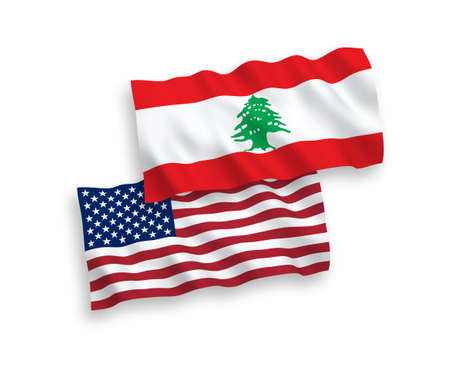 National vector fabric wave flags of Lebanon and USA isolated on white background. 1 to 2 proportion.