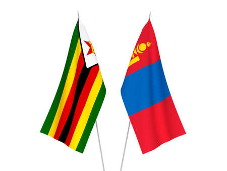 National fabric flags of Zimbabwe and Mongolia isolated on white background. 3d rendering illustration. 版權商用圖片