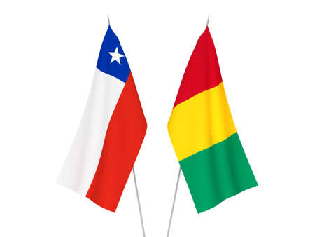 National fabric flags of Chile and Guinea isolated on white background. 3d rendering illustration.