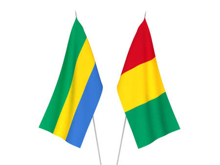 National fabric flags of Gabon and Guinea isolated on white background. 3d rendering illustration. 版權商用圖片