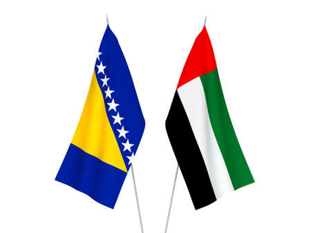 National fabric flags of United Arab Emirates and Bosnia and Herzegovina isolated on white background. 3d rendering illustration.