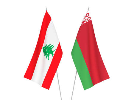 National fabric flags of Belarus and Lebanon isolated on white background. 3d rendering illustration.