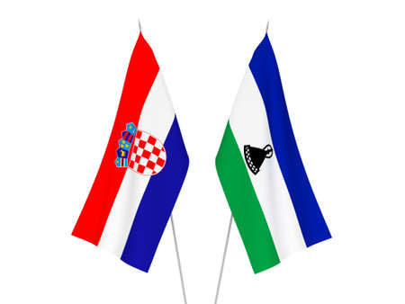National fabric flags of Croatia and Lesotho isolated on white background. 3d rendering illustration.