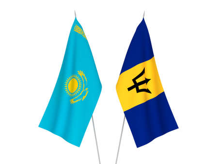 National fabric flags of Kazakhstan and Barbados isolated on white background. 3d rendering illustration. 版權商用圖片