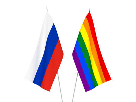 National fabric flags of Russia and Rainbow gay pride isolated on white background. 3d rendering illustration.