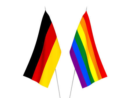 National fabric flags of Germany and Rainbow gay pride isolated on white background. 3d rendering illustration. 版權商用圖片
