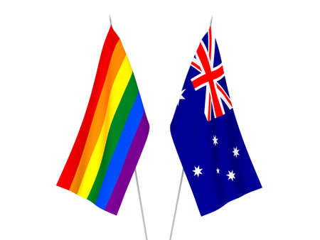 National fabric flags of Australia and Rainbow gay pride isolated on white background. 3d rendering illustration. 版權商用圖片