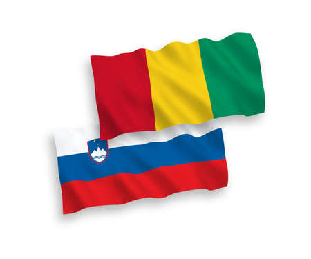 National vector fabric wave flags of Slovenia and Guinea isolated on white background. 1 to 2 proportion.