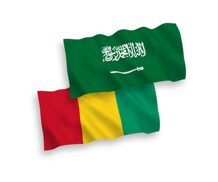 National vector fabric wave flags of Saudi Arabia and Guinea isolated on white background. 1 to 2 proportion.