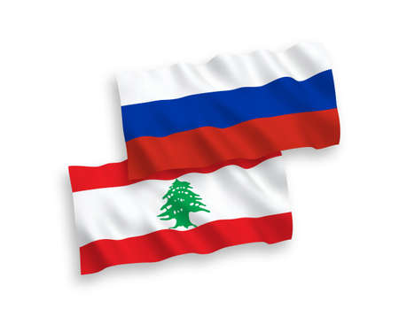 National vector fabric wave flags of Lebanon and Russia isolated on white background. 1 to 2 proportion.