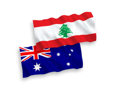 National vector fabric wave flags of Australia and Lebanon isolated on white background. 1 to 2 proportion. 向量圖像
