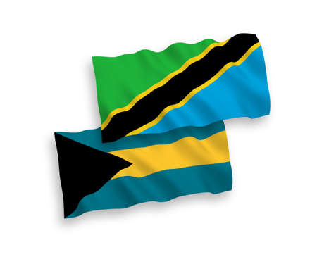 National vector fabric wave flags of Commonwealth of The Bahamas and Tanzania isolated on white background. 1 to 2 proportion.