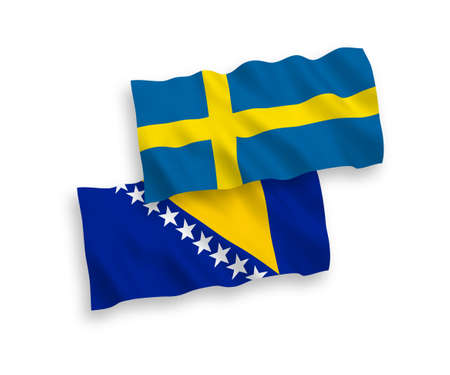National vector fabric wave flags of Sweden and Bosnia and Herzegovina isolated on white background. 1 to 2 proportion.