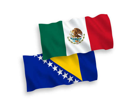 National vector fabric wave flags of Mexico and Bosnia and Herzegovina isolated on white background. 1 to 2 proportion.