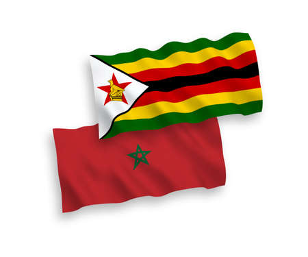 National vector fabric wave flags of Zimbabwe and Morocco isolated on white background. 1 to 2 proportion.