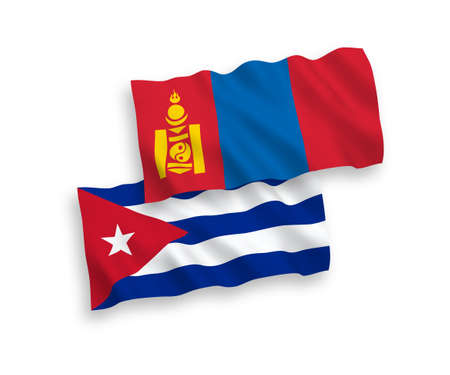 National vector fabric wave flags of Mongolia and Cuba isolated on white background. 1 to 2 proportion.