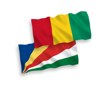 National vector fabric wave flags of Guinea and Seychelles isolated on white background. 1 to 2 proportion.