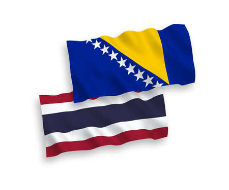 National vector fabric wave flags of Bosnia and Herzegovina and Thailand isolated on white background. 1 to 2 proportion. Vectores
