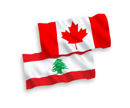 National vector fabric wave flags of Canada and Lebanon isolated on white background. 1 to 2 proportion.