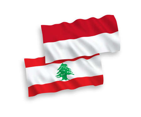 National vector fabric wave flags of Indonesia and Lebanon isolated on white background. 1 to 2 proportion.