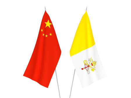 National fabric flags of China and Vatican isolated on white background. 3d rendering illustration.