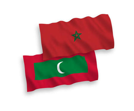 National vector fabric wave flags of Maldives and Morocco isolated on white background. 1 to 2 proportion. Illusztráció