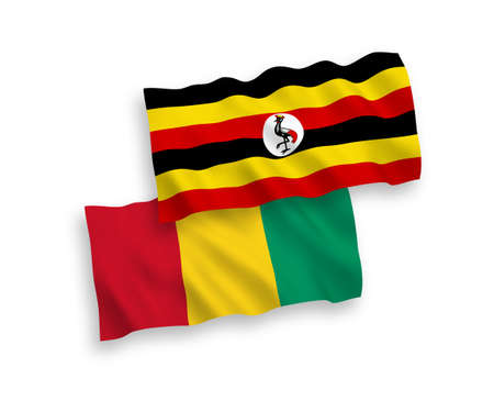 National vector fabric wave flags of Guinea and Uganda isolated on white background. 1 to 2 proportion. 向量圖像