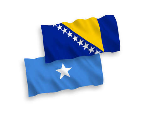 National vector fabric wave flags of Bosnia and Herzegovina and Somalia isolated on white background. 1 to 2 proportion.