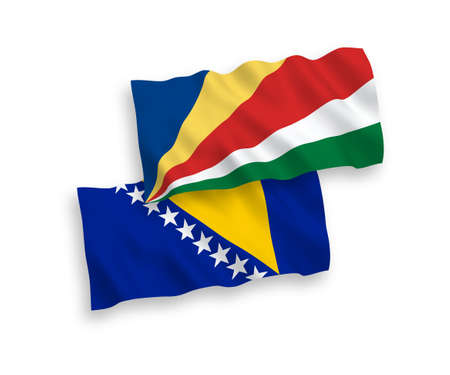 National vector fabric wave flags of Bosnia and Herzegovina and Seychelles isolated on white background. 1 to 2 proportion.