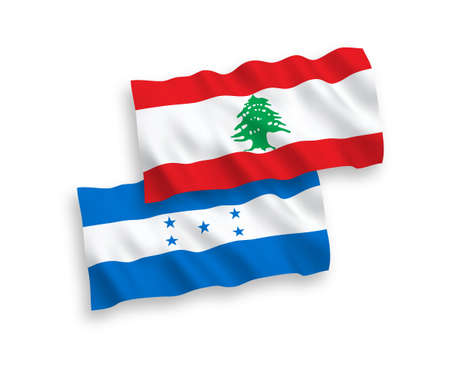 National vector fabric wave flags of Lebanon and Honduras isolated on white background. 1 to 2 proportion.