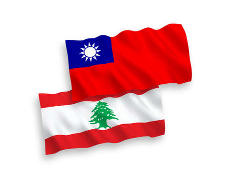 National vector fabric wave flags of Lebanon and Taiwan isolated on white background. 1 to 2 proportion.