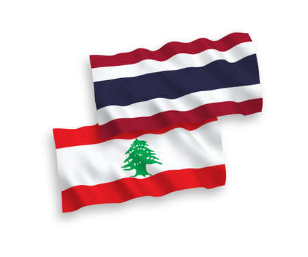 National vector fabric wave flags of Lebanon and Thailand isolated on white background. 1 to 2 proportion.