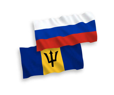 National vector fabric wave flags of Barbados and Russia isolated on white background. 1 to 2 proportion.