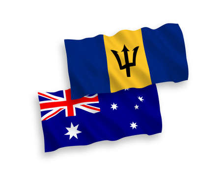 National vector fabric wave flags of Australia and Barbados isolated on white background. 1 to 2 proportion. 向量圖像