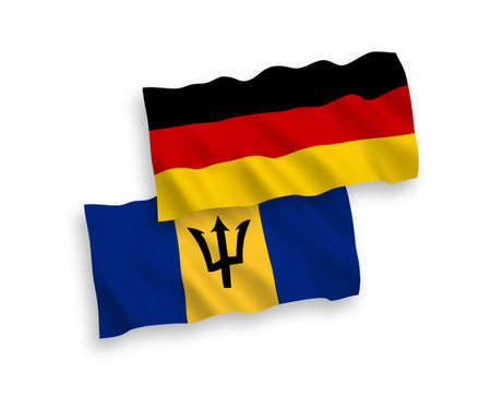 National vector fabric wave flags of Germany and Barbados isolated on white background. 1 to 2 proportion.