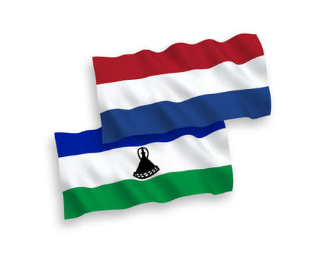 National vector fabric wave flags of Lesotho and Netherlands isolated on white background. 1 to 2 proportion. 向量圖像