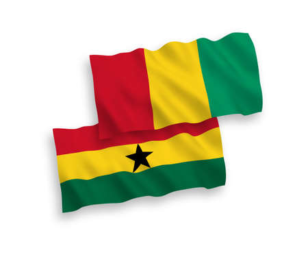 National vector fabric wave flags of Guinea and Ghana isolated on white background. 1 to 2 proportion. 向量圖像